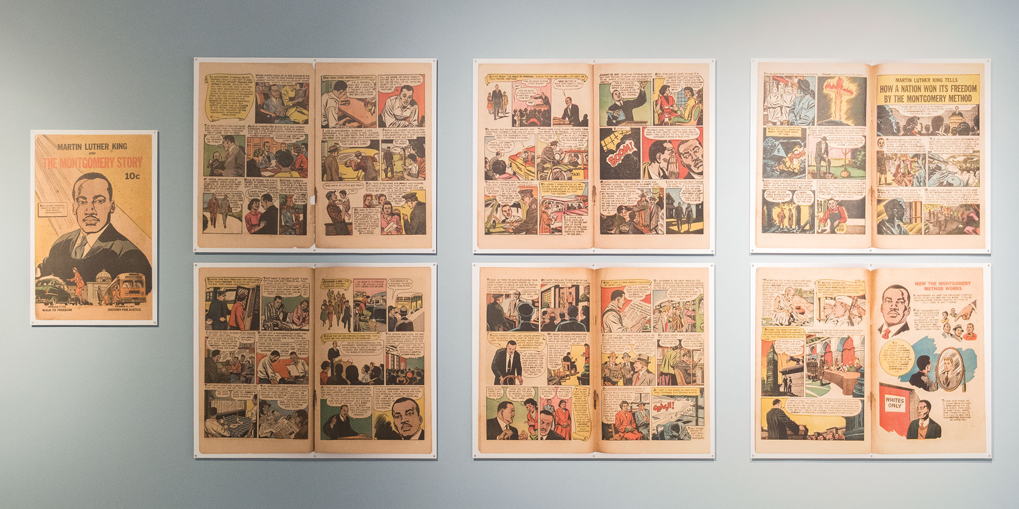 The African American Cultural Center presents a diverse array of performers and exhibits to interpret African-American culture and history at the August Wilson Center. The exhibition shown here— From MLK to March—highlights the little-known comic books and editorial cartoons of the civil rights era.