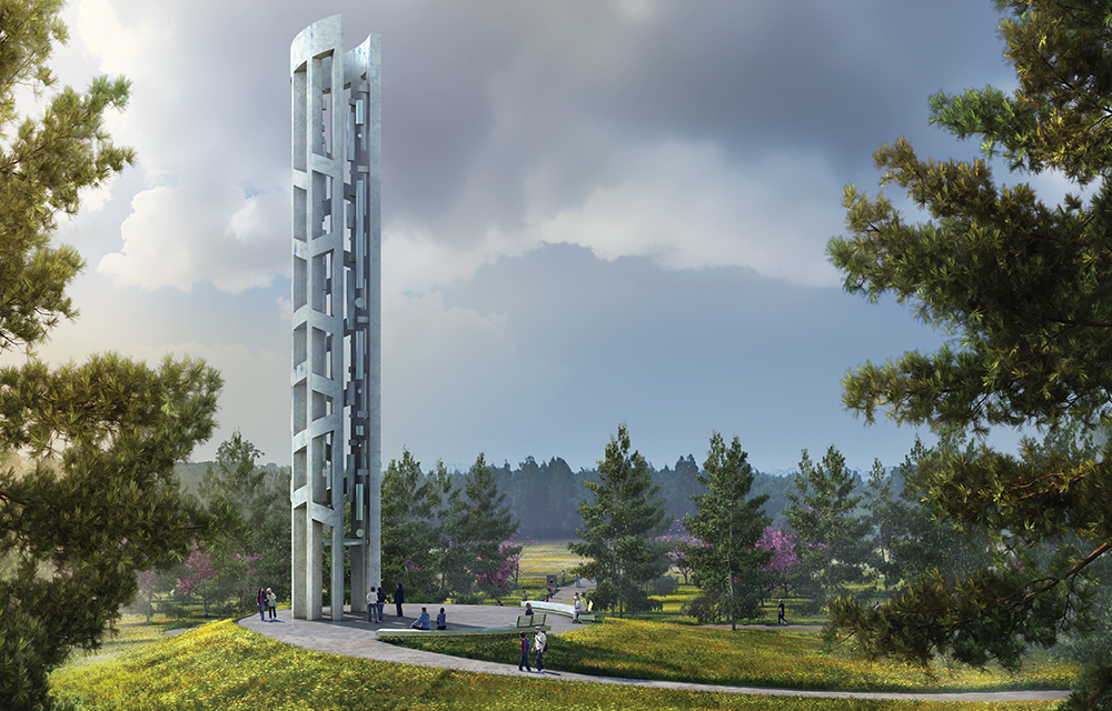 The Tower of Voices, seen here as an artist's rendering, is under construction at the Flight 93 National Memorial.