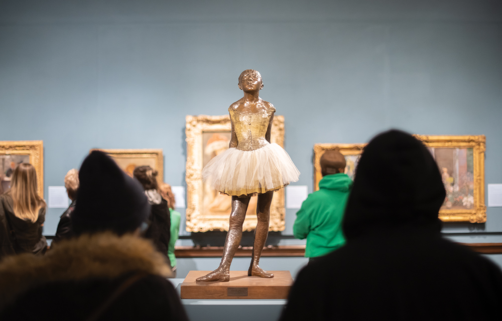 Degas' The Little Dancer, one of the many pieces on display during the exhibition Van Gogh, Monet, Degas: The Mellon Collection of French Art from the Virginia Museum of Fine Arts.