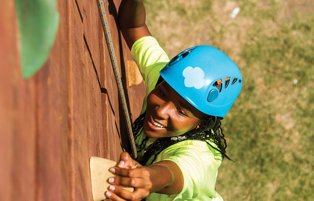 Girl Scouts Western Pennsylvania offers opportunities to engage girls in the outdoors, including rock-wall climbing.