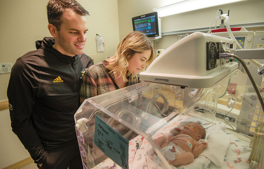 Rebecca and Dan Mackinnon entrust their baby, Bodhi, to the UPMC Magee-Womens Hospital Neonatal Intensive Care Unit, which provides medical care to more than 1,800 babies every year.